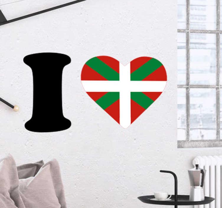 TenStickers. Sticker drapeau Euskadi coeur. Montrez votre amour et fierté pour le pays basque avec ce sticker au design original de la phrase I love avec le drapeau en forme de cœur.