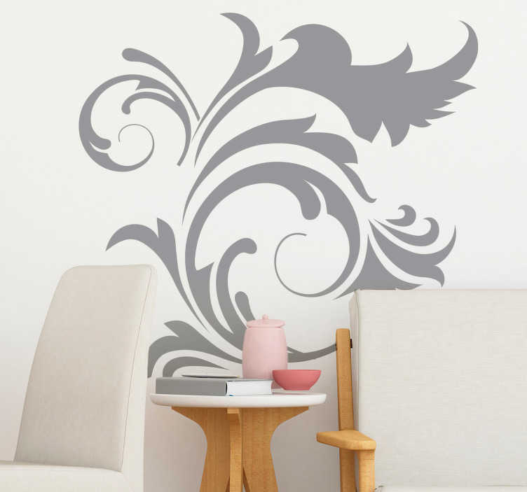 TenStickers. Ornamental Floral Plant Wall Sticker. Wall Stickers - Original floral design ideal for decorating the living room. Available in various colours and sizes to choose from.
