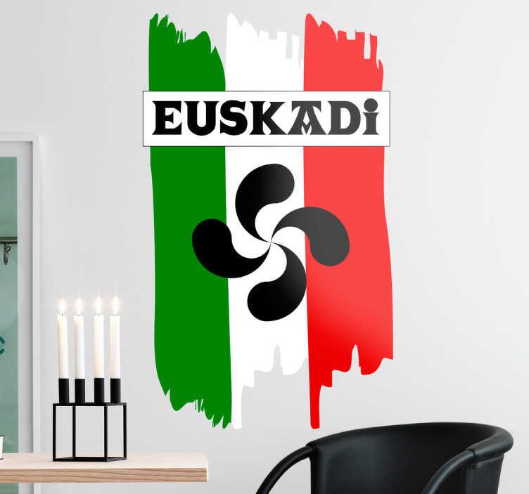 TenVinilo. Vinilo bandera de Euskadi lauburu. Vinilo Euskadi con una bonita representación de los colores de su emblema junto a un Lauburu y el nombre en vasco en una típica tipografía vasca.