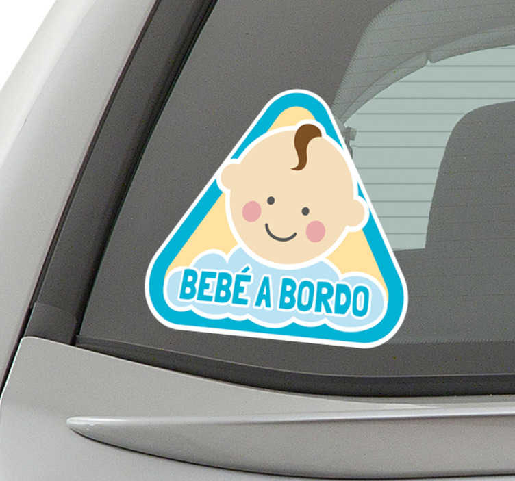 TenStickers. adesivo bebé a bordo disegno bambino. Adesivo per auto con un grazioso bambino che avverte gli altri veicoli di viaggiare con prudenza. Disponibile in diverse dimensioni.