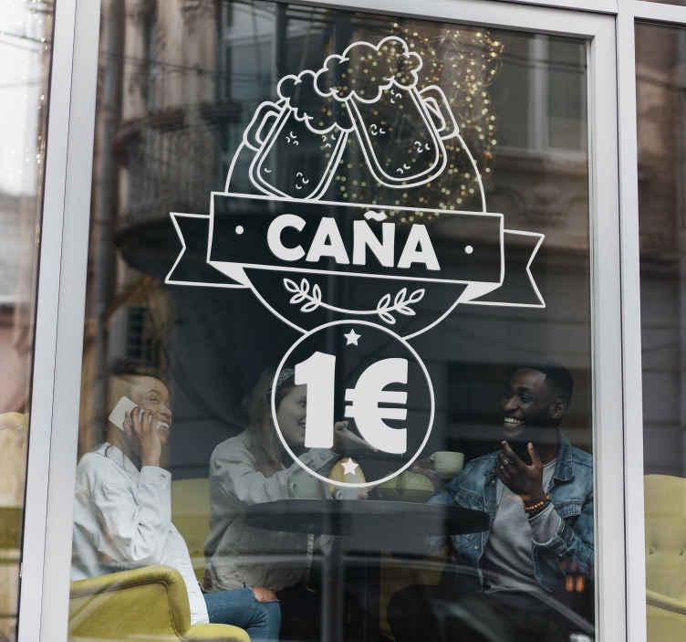 TenVinilo. Vinilo decorativo caña a un euro. Vinilo cerveza que muestra la ilustración de dos jarras chocando y el precio de la oferta totalmente personalizable.