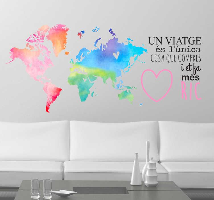 TenVinilo. Vinilo decorativo mapamundi en catalán. Vinilos pared de diseño exclusivo, ideales para viajeros empedernidos que quieran darle un toque de color a su casa.