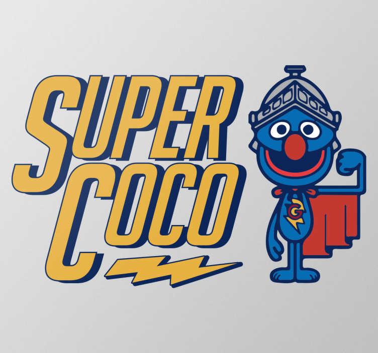 TenVinilo. Vinilo decorativo Supercoco. Vinilos Barrio Sésamo con un dibujo de vuestro personaje favorito de esta serie de los años 80, en este caso disfrazado de su alter ego superhéroe.