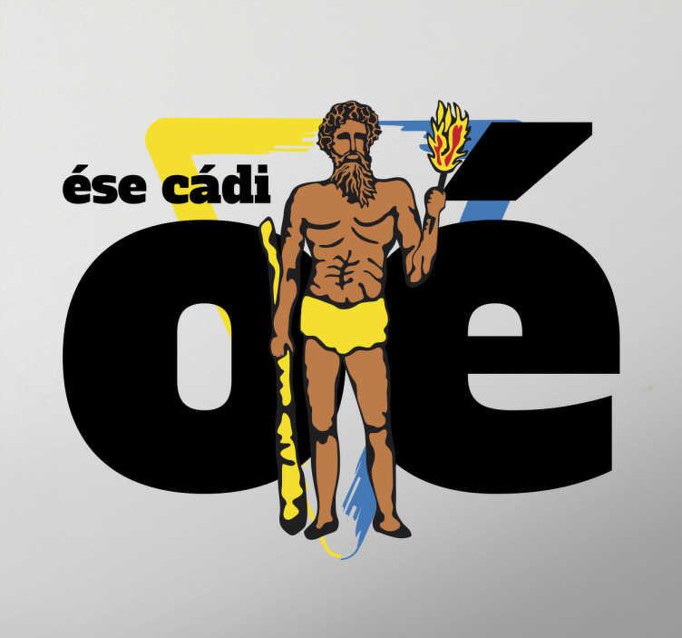 """TenVinilo. Vinilo Hércules esecadioé. Sticker en el que aparece el emblema del escudo del club y la ciudad y el grito de ánimo más popular entre los seguidores de este club: """"Ese Cádi Oé""""."""