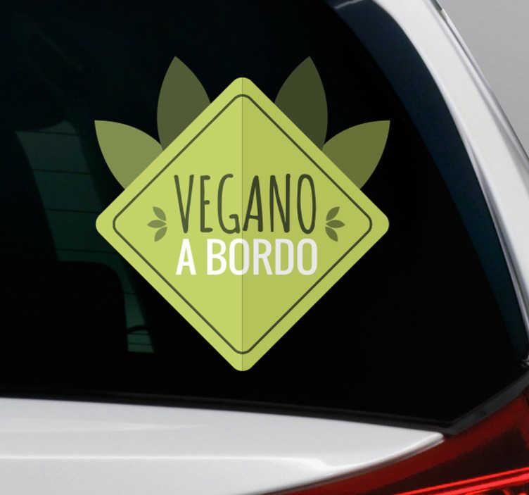 TenStickers. Adesivo vegano a bordo. Adesivo per auto con la scritta vegano a bordo e delle simpatiche foglie