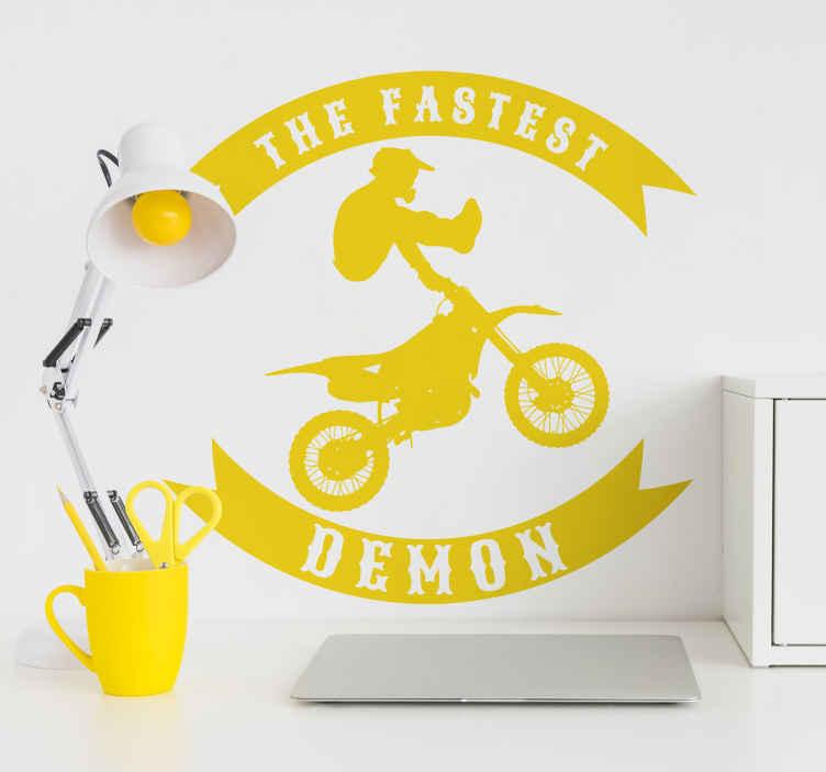 """TenVinilo. Pegatinas moteras fastest demon salto. Vinilos juveniles en los que aparece la silueta de un motorista en pleno salto acrobático acompañado del texto en inglés """"the fastest demon""""."""