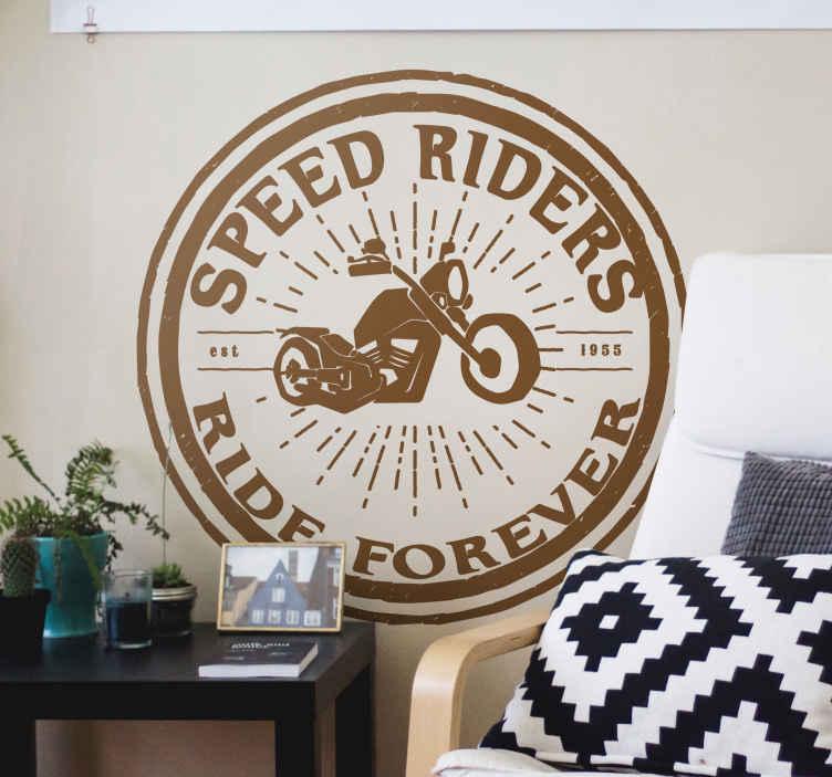 TenVinilo. Pegatinas moto speed riders. Vinilos moto estilo vintage con forma circular para amantes de las motos clásicas.