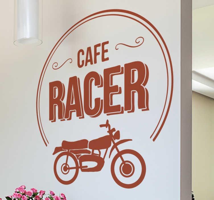 """TenStickers. Wandtattoo Cafe Racer. Stylisches Wandtattoo für Zuhause oder fürs Cafe mit der Aufschrift """"Cafe Racer"""" und einem retro Motorrad."""
