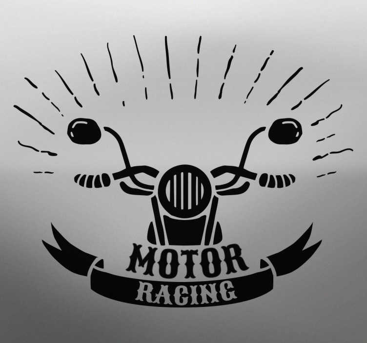 TenStickers. Sticker motor racing moto. Sticker monochrome d'un guidon de moto avec le texte 'motor racing'.