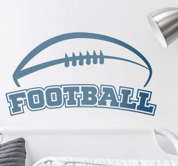 TenStickers. Football wall sticker. This football sticker is perfect for anybody who is fan of this great American sport. It has the text ´football´which is very important for any player