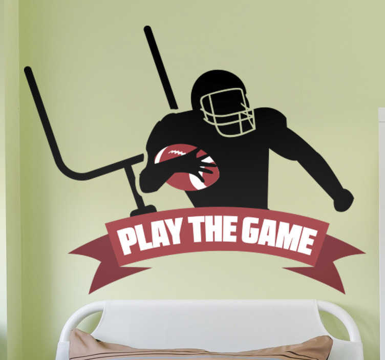 TenStickers. Wallsticker football play the game. This wall sticker is perfect for anybody who is fan of the quote ´play the game´. It has the football player in different positions ready to play.