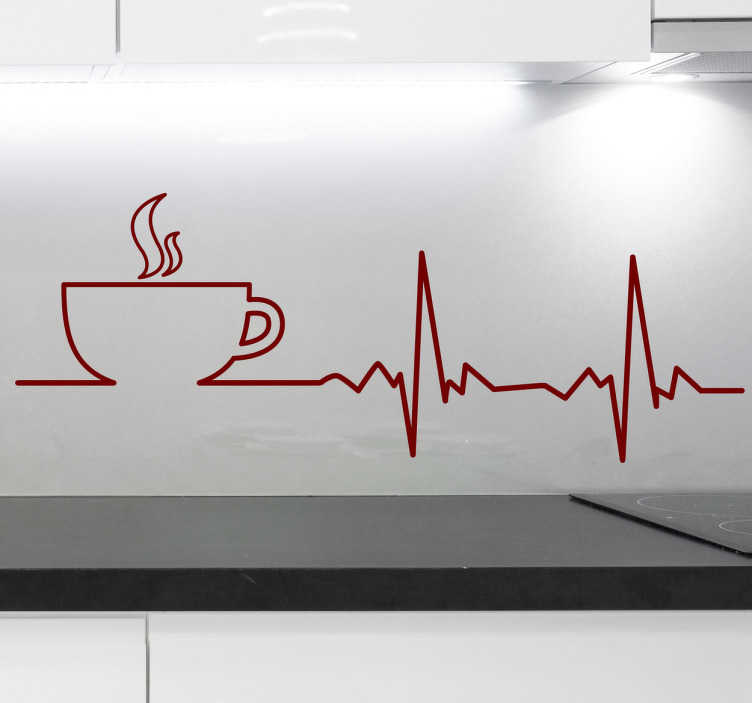 TenStickers. Coffee Heartbeats Wall Sticker. Monochrome coffee wall sticker for coffee lovers. The perfect drinks sticker for those who can't function in the morning without coffee.