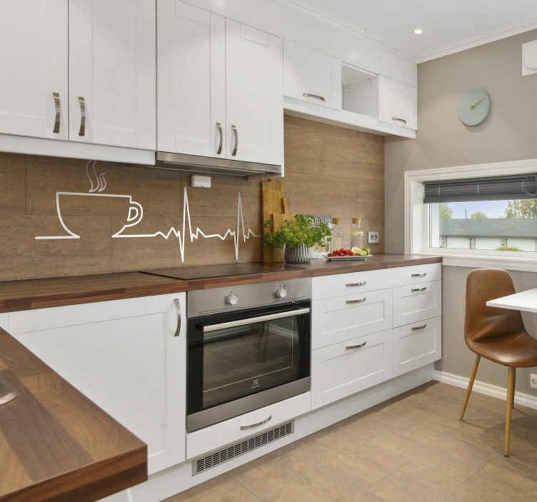 TenStickers. Sticker café électrocardiogramme. Sticker mural avec la silhouette d'un café chaud et le graphique d'un électrocardiogramme. Un adhésif pour tous ceux qui ont besoin d'un café le matin
