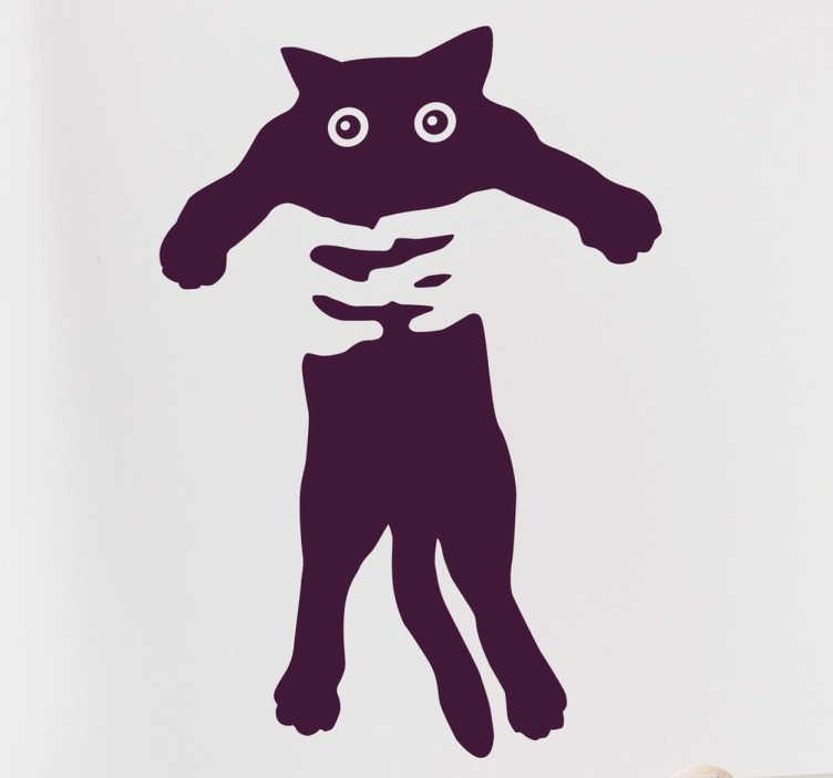 TenVinilo. Vinilo decorativo cogiendo al gato. Vinilos de gatos para amantes de esta mascota, con un dibujo original en el que dos manos sujetan a este animal de compañía.