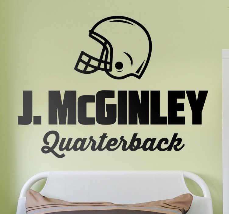 TenStickers. Sticker personnalisable quarterback. Sticker personnalisable quarterback (football américain) avec un casque. Cet autocollant est idéal pour les fans de NFL !