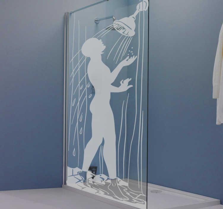 TenStickers. Wanddecoratie douche man. Deze waterdichte sticker is uitstekend geschikt voor uw douchewand, de stick heeft een silhouet van een man die in de douchekop kijkt.