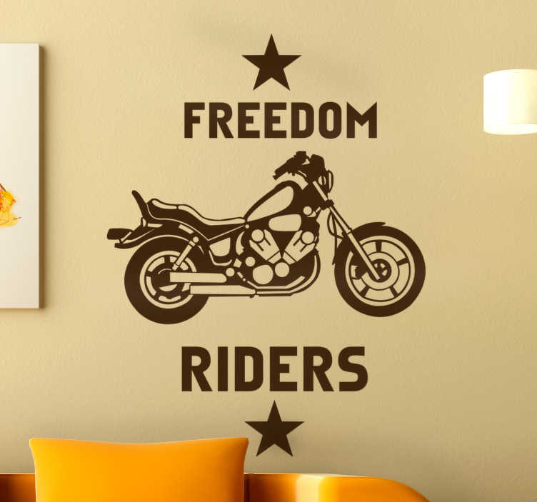 "TenStickers. Adesivo moto chopper freedom. Adesivo con l'immagine di un chopper e il testo in inglese ""Freedom riders"". Disponibile in più di 50 colori. Disponibile in diverse dimensioni."