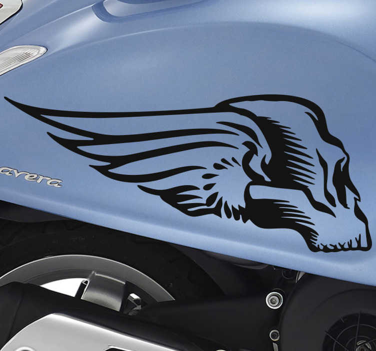 TENSTICKERS. オートバイの車のステッカーのための翼のある頭蓋骨. あなたのオートバイのデザインをまったく新しいものに変えてください!車のステッカーでオートバイをカスタマイズし、あなたの望みに色を適応させることができます。迅速な配達。