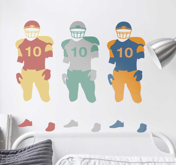 TenVinilo. Vinilo jugadores de fútbol americano. Vinilos deportes con el dibujo de tres jugadores de fútbol americano en distintos colores.
