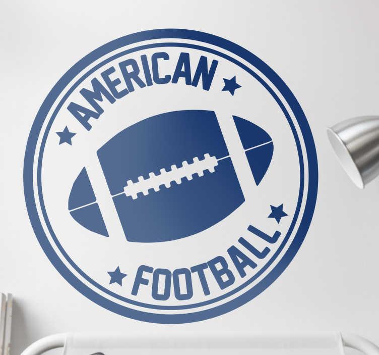 TenStickers. Naklejka okrągła american football. Naklejka o okrągłym kszatłciez piłką do futbolu amerykańskiego dla fanów tego sportu i stylu z napisem w języku angielskim American Football