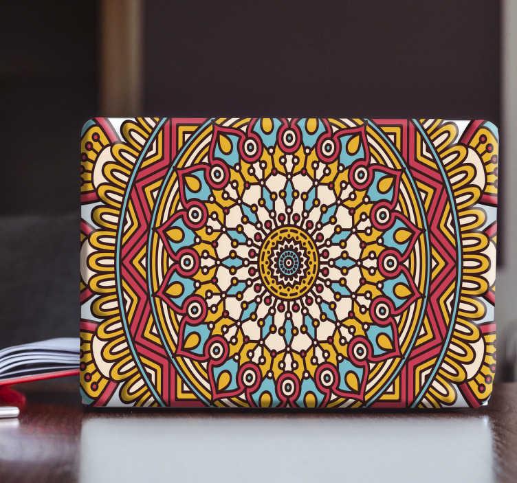 TenStickers. Laptopaufkleber Boho Mandala. Sehr schöner Laptopaufkleber mit einem bunten Mandala im Boho Style. Ist für jeden Laptop geeignet und verschöner jedes Gerät.