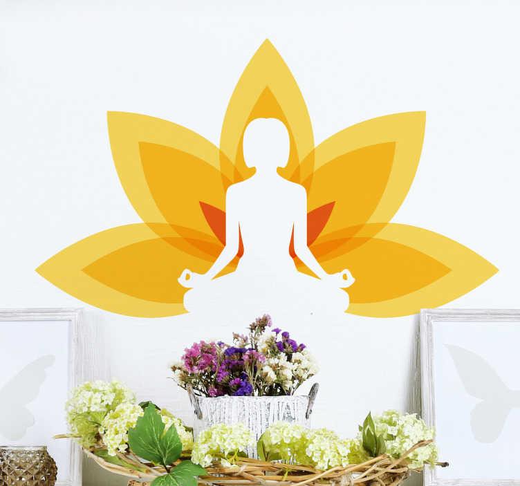 TenVinilo. Vinilo decorativo posición yoga color. Vinilos de relajación, con la silueta de una persona practicando yoga y detrás una colorida flor de loto de tonos amarillos.