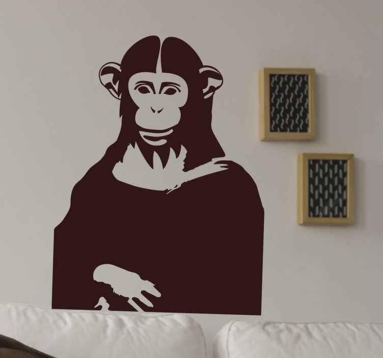 TenStickers. Mona Lisa Chimp Wall Sticker. This funny wall sticker and quirky take on the world famous painting by Leonardo DaVinci, the Mona Lisa, shows her mysterious human smile replaced