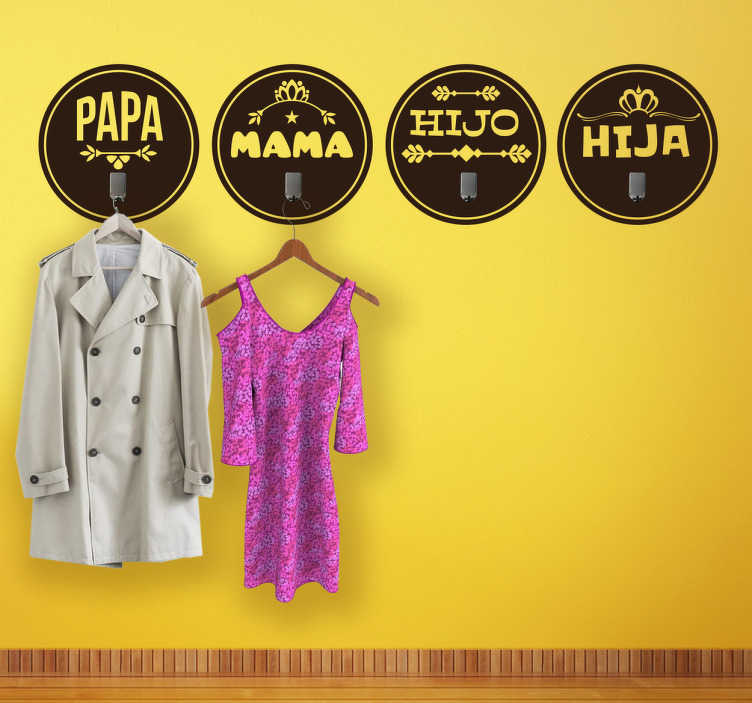 Sticker porte manteau famille