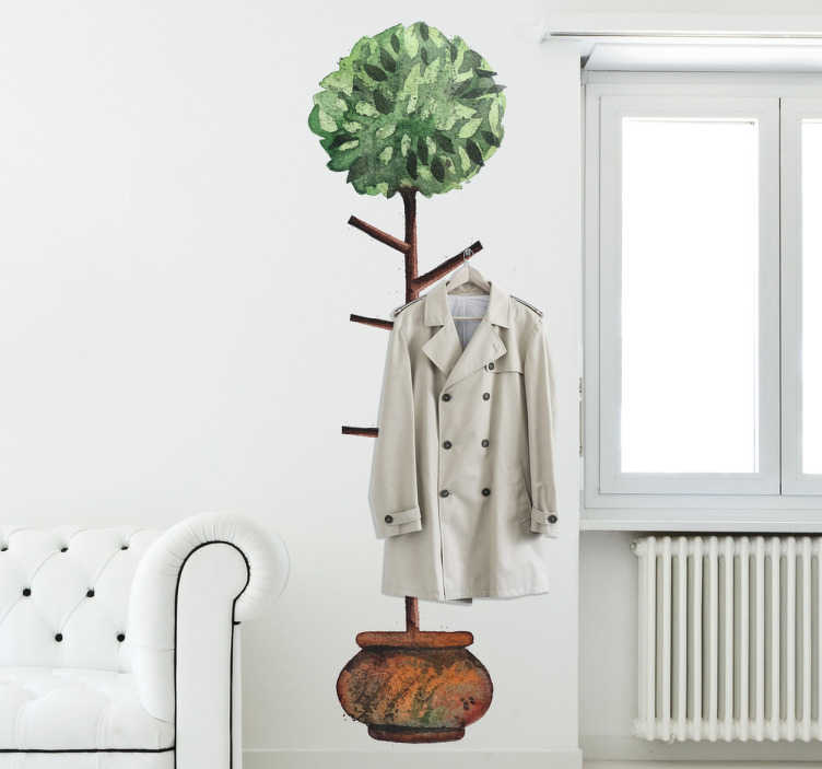 TenStickers. Muursticker kapstok boom. Deze muursticker van een boom met daarin verwerkt takken die als punten voor kapstokken gebruikt worden.