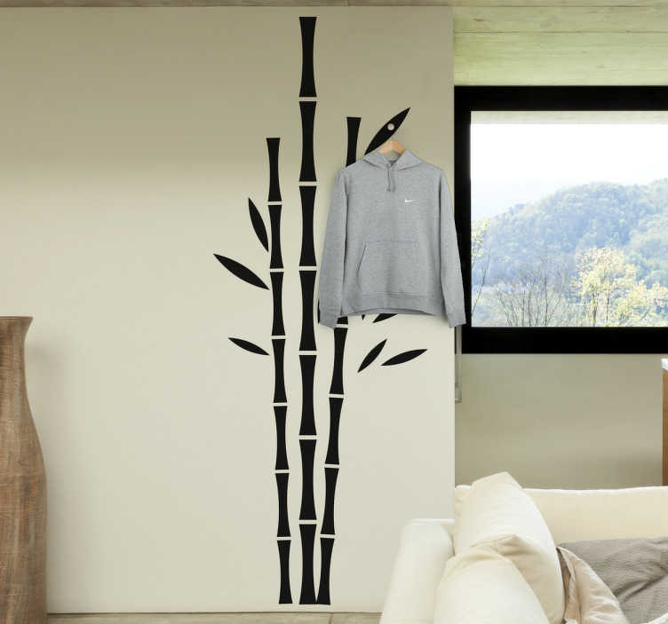 TenStickers. Sticker bambous. Sticker mural de trois bambous. Cet autocollant est idéal si vous voulez mettre un peu de nature dans votre maison.