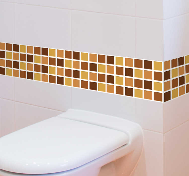 TenStickers. Adesivo per piastrella tonalità marrone. Banda adesiva ideale per le piastrelle della tua cucina o del tuo bagno con quadratini di tonalità marrone e giallo