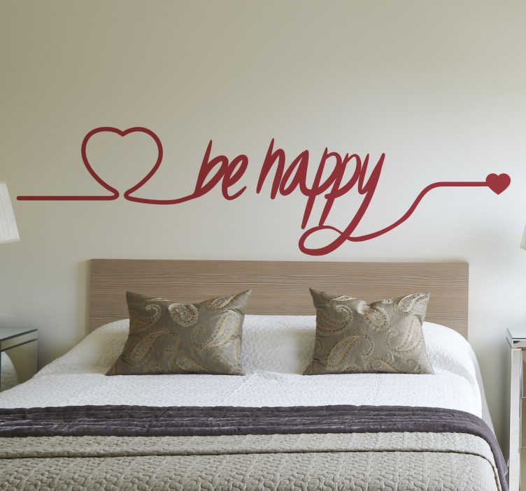 "TenStickers. Be Happy Love Heart Decorative Wall Sticker. This elegant and sweet text sticker features the words ""be happy"" and two love heart designs, from our Valentine's Day collection. If you're a cheery free-spirited type, let visitors to your home know it with this decorative wall sticker!"