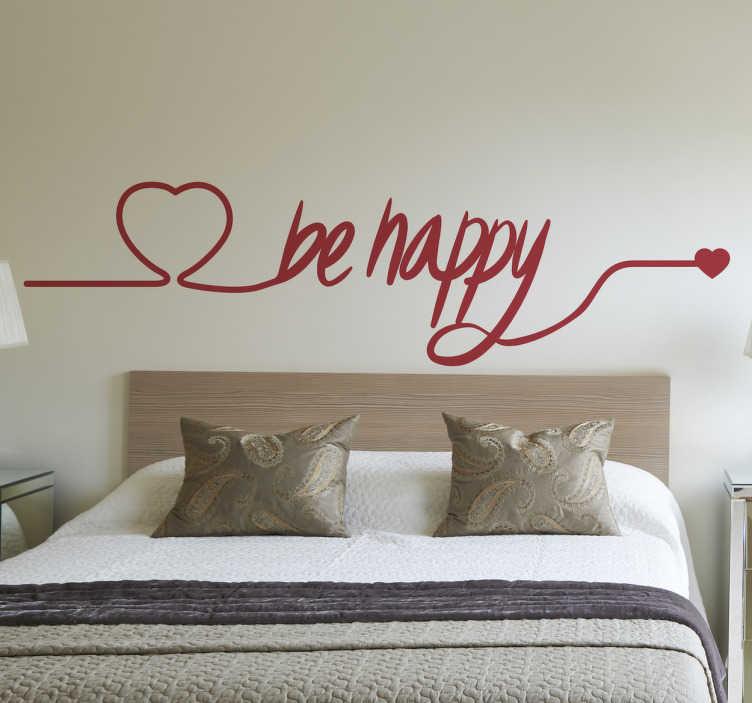 TenStickers. Muursticker Hart en be happy. Deze prachtige wanddecoratie van een vloeiende lijn die van hart tot hart loopt met de tekst ´be happy´ is een echte sfeer maker.