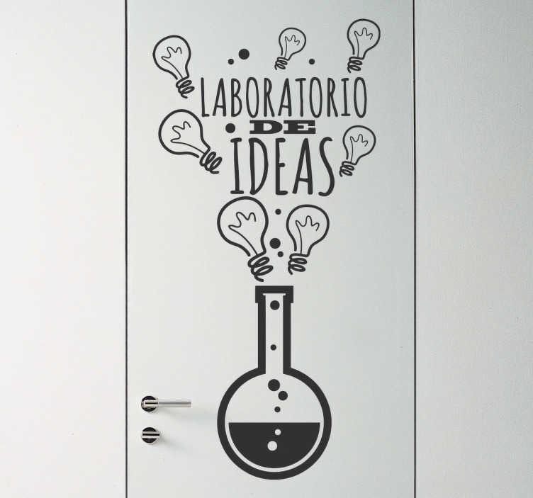 TenVinilo. Vinil decorativo laboratorio de ideas. Vinilos originales con el dibujo de una probeta de la cual salen una serie de iconos de bombillas, símbolo universal de las ideas y la creación.