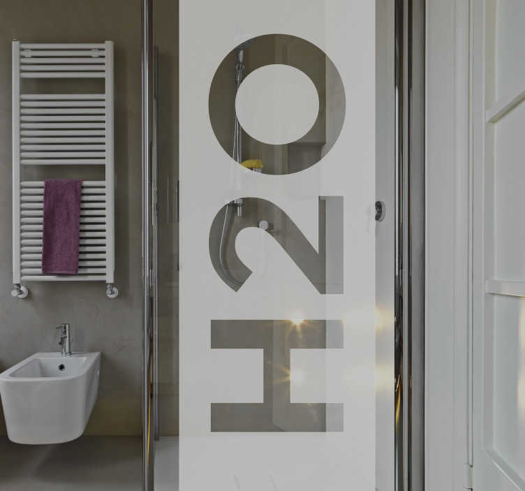 "TenStickers. H2O Decorative Shower Sticker. If you're looking for a fun and interesting way to decorate your bathroom, look no further than this shower sticker! Featuring the text ""H20"", this translucent vinyl is the perfect way to customise your shower while providing some privacy while you wash!"