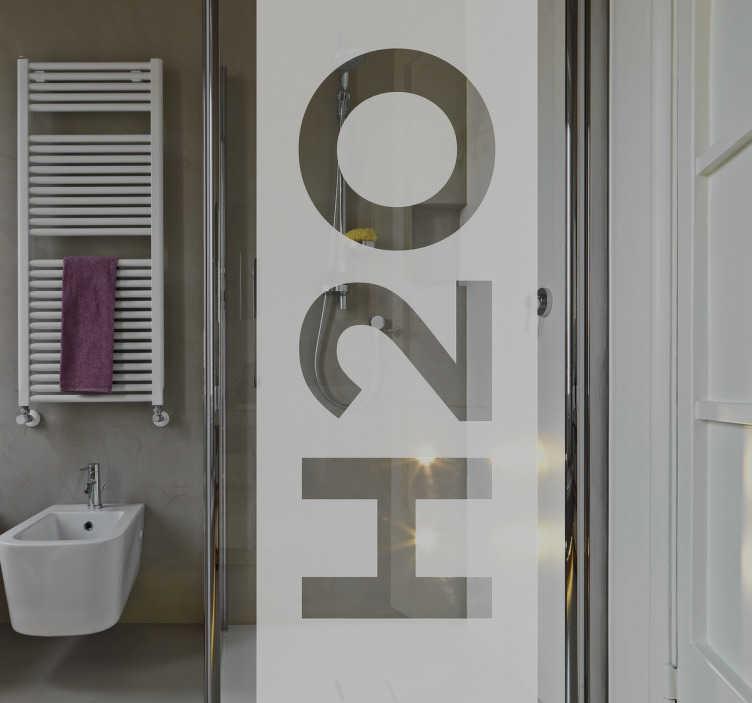 """Tenstickers. H2o dekorative dusj klistremerke. Hvis du leter etter en morsom og interessant måte å dekorere badet ditt, se ikke lenger enn denne dusjen klistremerke! Denne teksten """"h20"""" er den gjennomsiktige vinylen som er den perfekte måten å tilpasse dusjen din, mens du gir litt privatliv mens du vasker!"""