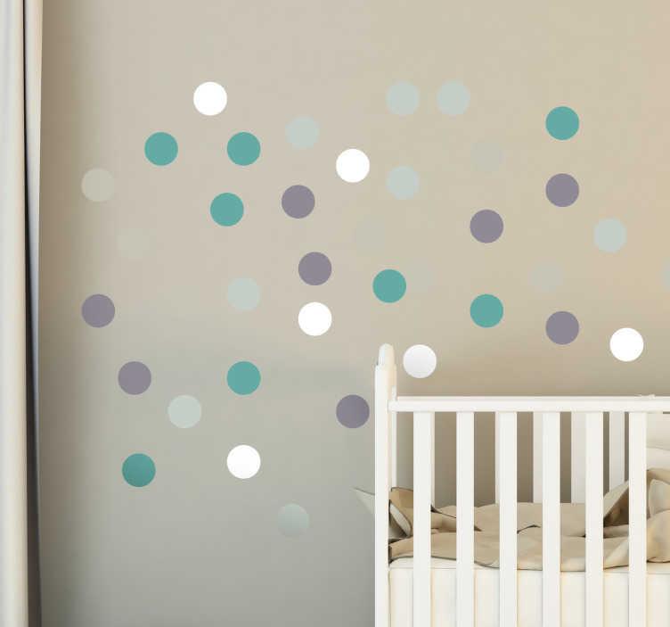 TenVinilo. vinilo topos cinco colores. Colección de pegatinas circulares en tonos pastel, ideales para la decoración de estancias infantiles y conseguir un ambiente agradable y confortable.