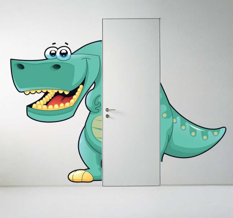 TenStickers. Sticker dinosaure porte. Sticker original d'un dinosaure pour enfant dans une porte. Cet autocollant est idéal pour votre enfant s'il aime les dinosaures.