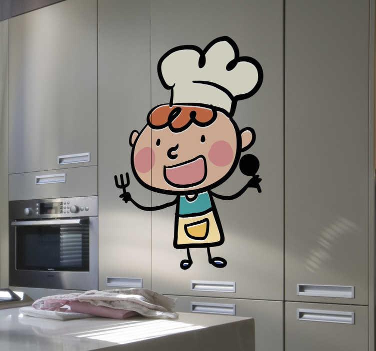 TenStickers. Autocollant mural chef et couverts. Stickers décoratif idéal pour la personnalisation des murs de la cuisine.