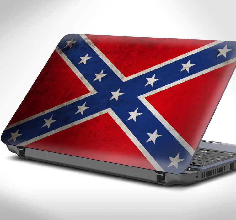 TenVinilo. Vinilo portátil bandera confederada. Skin para tu ordenador con una representación del emblema de los estados confederados.