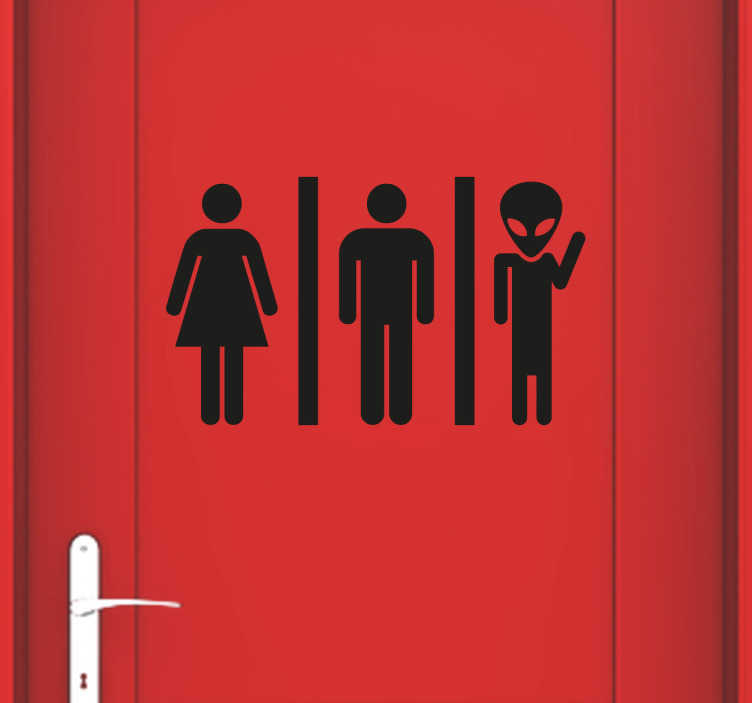 TenStickers. Alien Toilet Sign Sticker. Alien toilet sign sticker to show your guests where the bathroom is in a fun and unique way in your home or business. This durable door sticker is available in various sizes and 50 different colours.