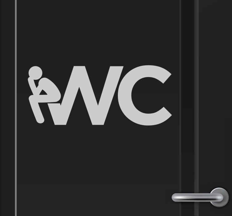 TenStickers. Aufkleber WC mit Icon. Witziger WC Aufkleber mit einem Icon das auf dem Buchstaben W hockt als wäre es eine Toilette.