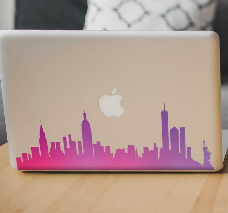 TenStickers. New York Skyline Laptop Sticker. If you've got a personal connection to the beautiful city of New York, this decorative laptop sticker is the perfect way to customise your computer!