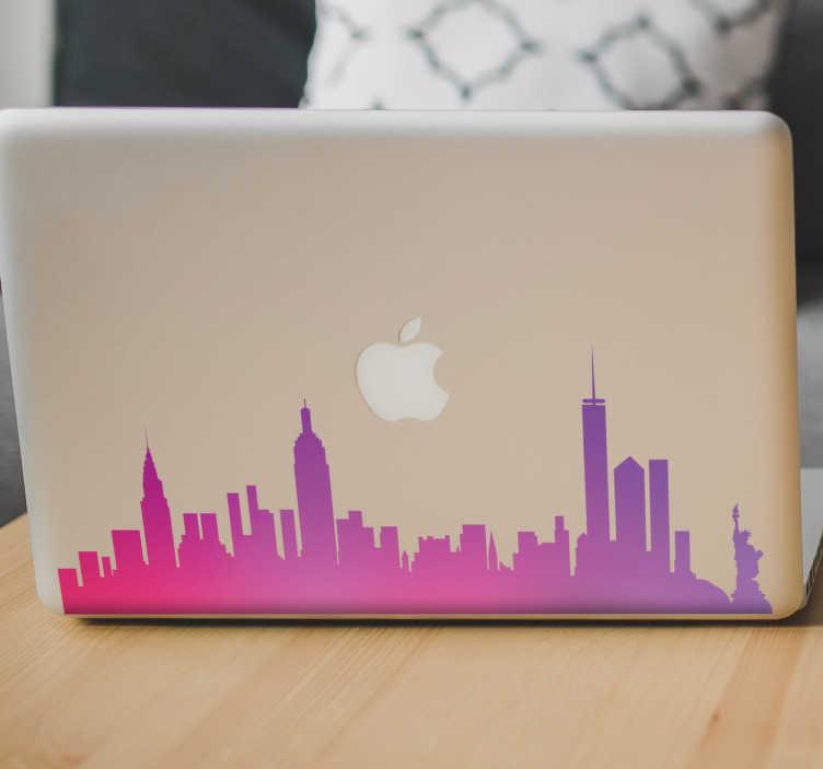 TENSTICKERS. ニューヨークスカイラインのラップトップステッカー. ラップトップのためのカラフルで装飾的なニューヨークのビニールデカール。場所のステッカーはあなたのラップトップに配置するニューヨークの美しいスカイラインを備えています。