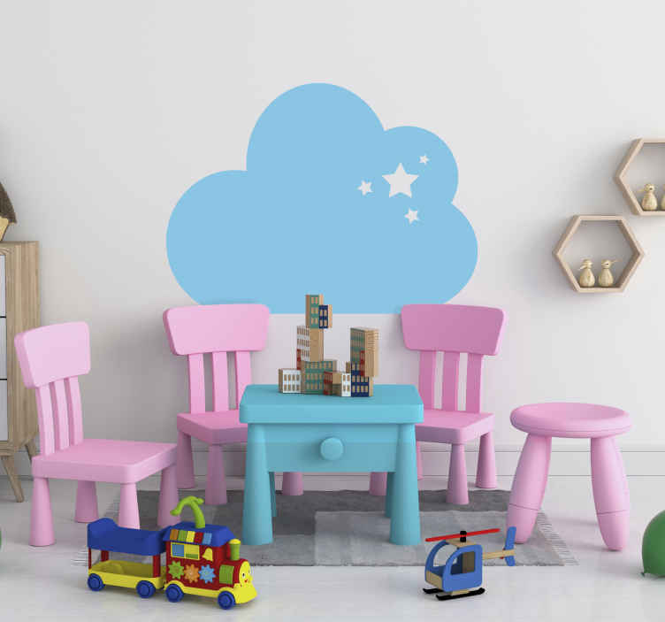 TenStickers. Muursticker wolk met ster. Een muursticker van een getekende wolk, met daarin 4 sterren in verschillende formaten. Verkrijgbaar in verschillende formaten. Voordelig personaliseren.