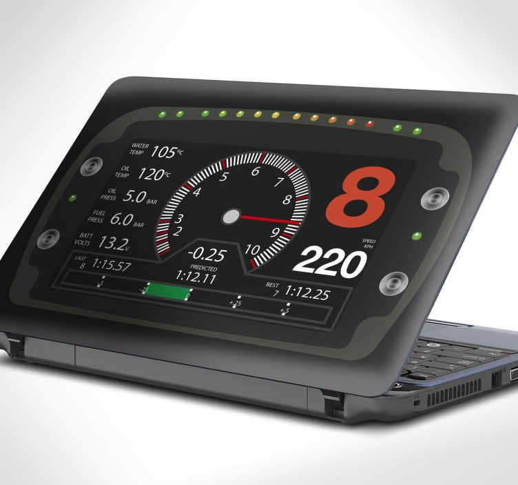 TenStickers. Laptop sticker race dashboard. Deze sticker van een race dashboard , die op maximale snelheid gaat, is voor elke laptop gebruiker die ook graag in de auto zit!