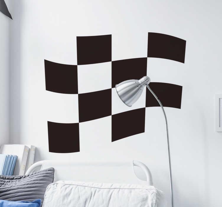 TenStickers. Muursticker rally race vlag. Decoreer elke gewenste ruimte met deze muursticker met de bekende racevlag met een zwart wit patroon. Afmetingen aanpasbaar. Express verzending 24/48u.