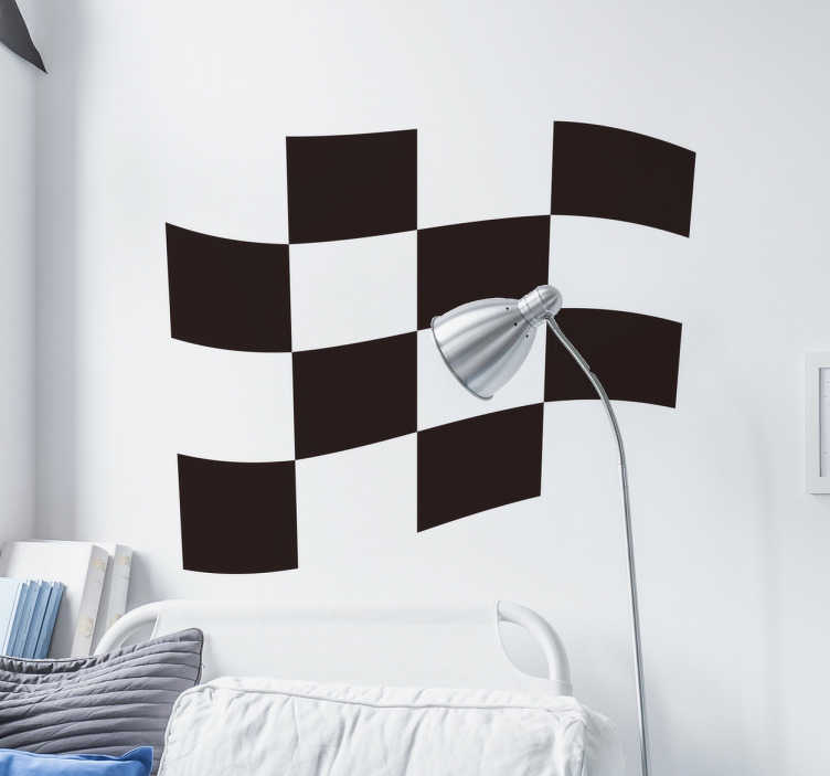 TenStickers. 바둑판 무늬 레이싱 깃발 벽 스티커. 경주 용 자동차 스티커 - 경주 국기 데칼은 어린이 침실이나 자동차에 붙이기에 훌륭한 디자인입니다. 경주를 사랑한다면이 디자인을 좋아할 것입니다!