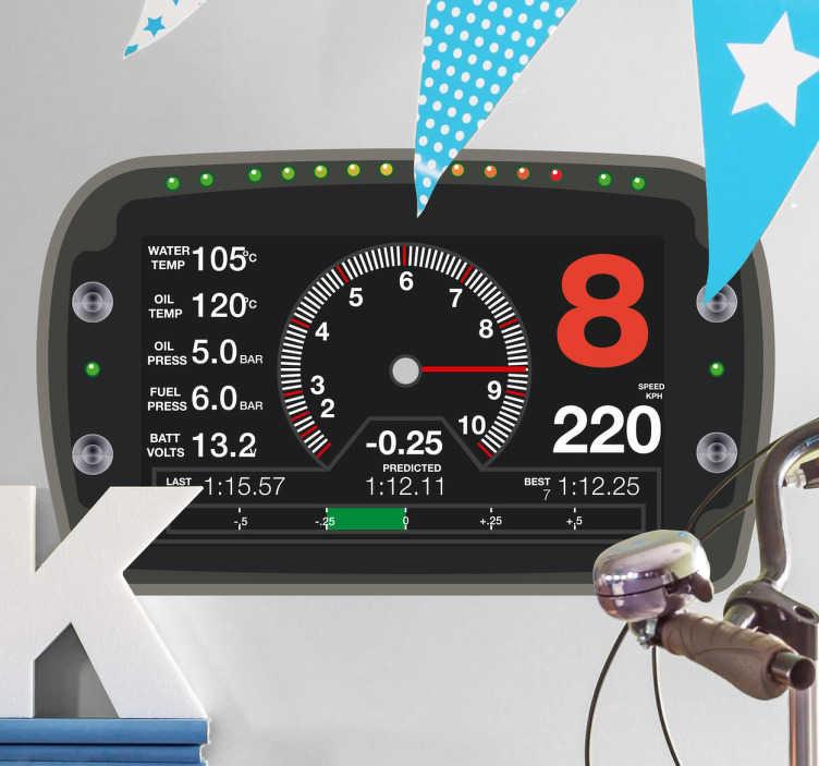 TenStickers. Vinilo decorativo com monitor de velocidades. Este vinilo decorativo que ilustra a velocidade do seu carro imaginário ideal para as pessoas que adoram a velocidade dos desportos motorizados.