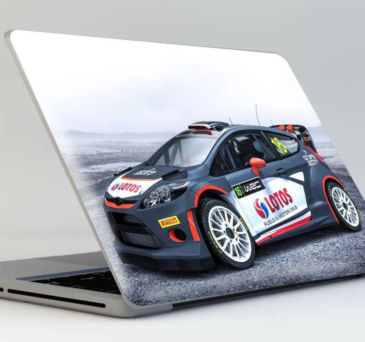 TenStickers. Sticker PC rallye. Sticker décoratif pour PC avec une voiture de rallye. Cet autocollant est parfait pour ceux qui sont fans de rallyes.